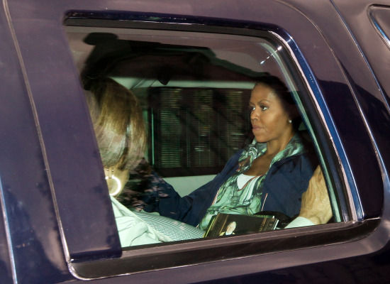 Michelle Obama leaves the Houses of Commons in a motorcade during an unofficial visit on Monday, June 8th.