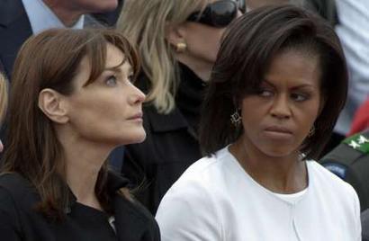 Carla Bruni and Michelle Obama, D-Day Remembrance