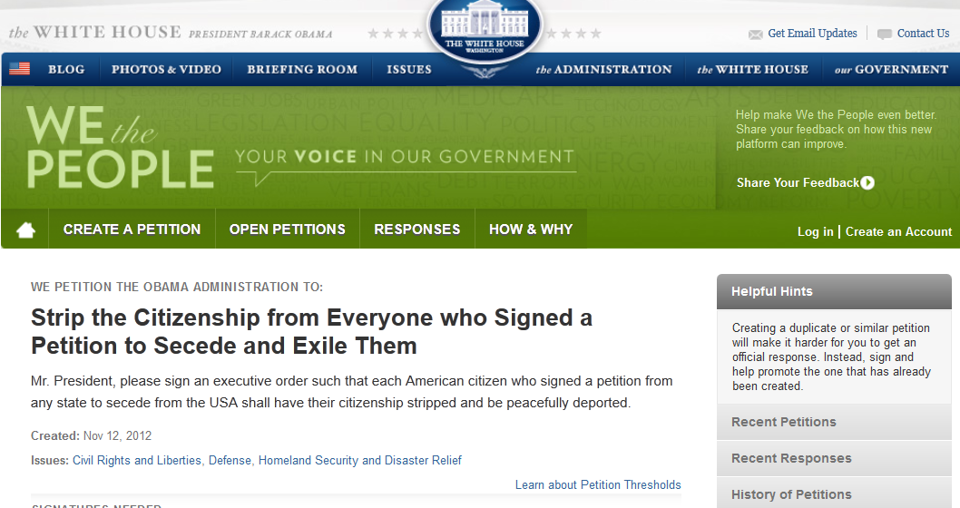 New WhiteHouse.gov Petition: Strip The Citizenship From Everyone Who Signed A Petition…etc., etc., etc.